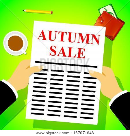 Autumn Sale Represents Fall Sales 3D Illustration