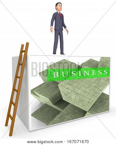 Business Blocks Showing Company Trade 3D Rendering