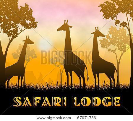 Safari Lodge Showing Wildlife Reserve 3D Illustration