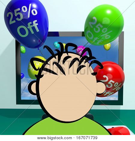 25% Off Balloons From Computer Showing Sale 3D Rendering