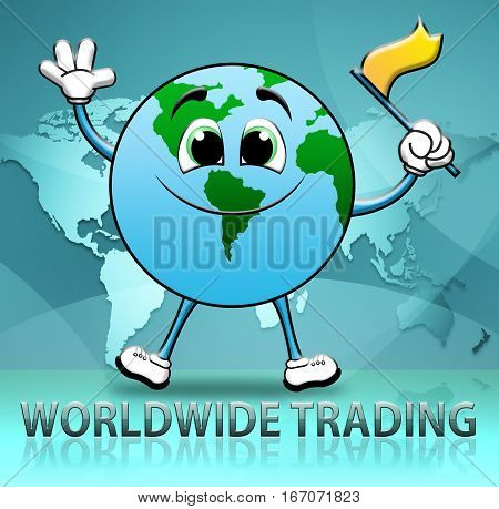 Worldwide Trading Shows World Commerce 3D Illustration