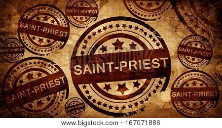 saint-priest, vintage stamp on paper background