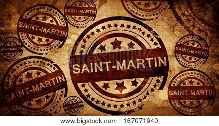 saint-martin, vintage stamp on paper background