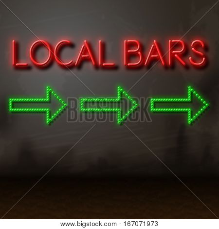 Local Bars Sign Shows Directions To Nearby Pubs