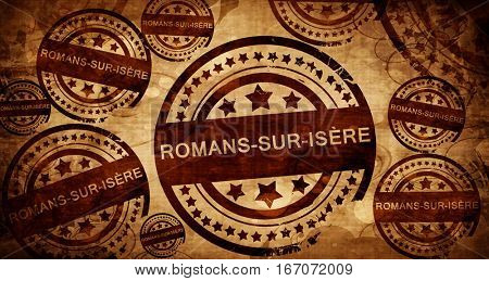 romans-sur-isere, vintage stamp on paper background