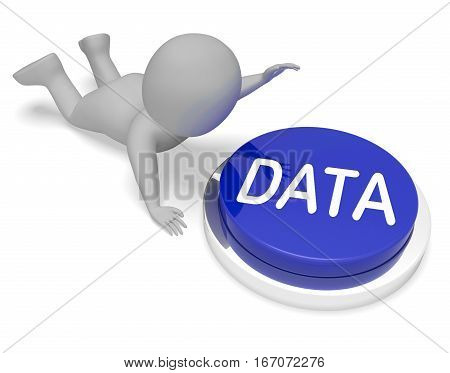 Data Button Means Database Files 3D Rendering