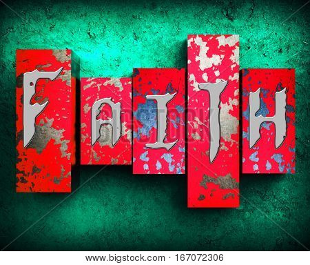 Faith Word Indicates Believing Faithful 3D Illustration