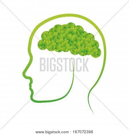 Green conscious brain icon design, vector illustration image