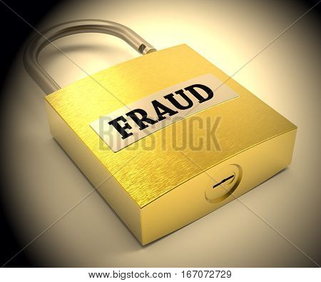 Fraud Padlock Shows Hoax Scam 3d Rendering poster