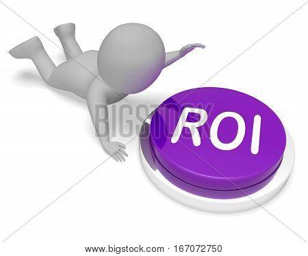 Roi Button Means Financial Return 3D Rendering