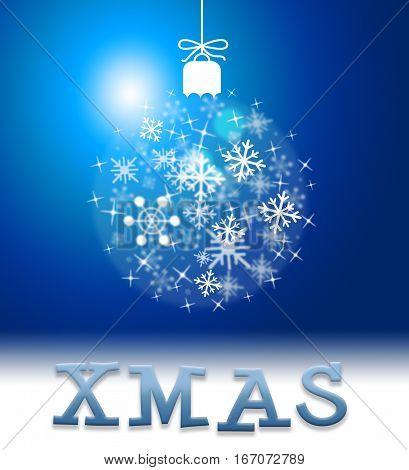 Xmas Decoration Means Happy Christmas Yuletide Greeting