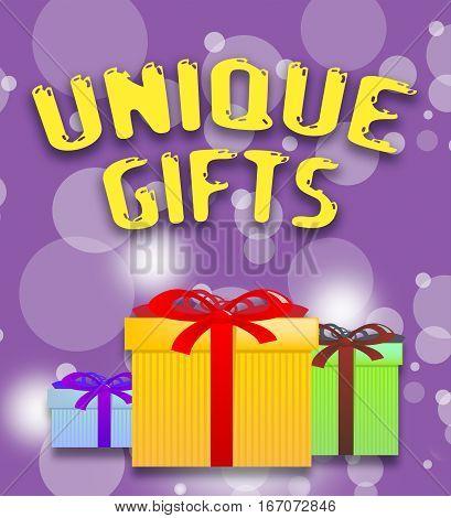 Unique Gifts Shows Special Present 3D Illustration