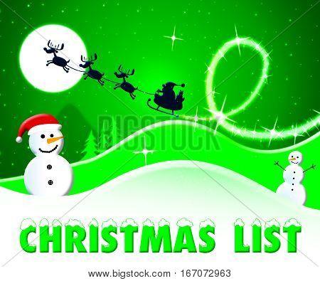 Christmas List Showing Xmas Wishlist 3D Illustration