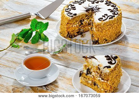 Portion Of Sponge Prune Cake Decorated With Chocolate Glaze