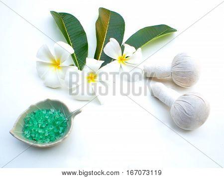 Spa massage compress balls herbal ball and treatment spa Thailand greenery tone 2017