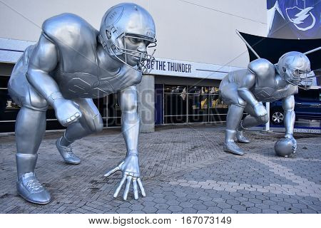 Tampa, Florida - Usa - January 07, 2017: Giant Football Playoff Sculptures