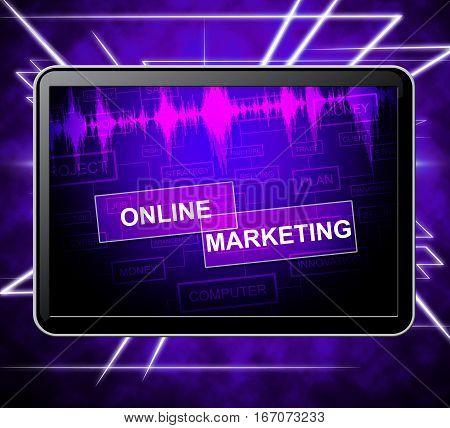 Online Marketing Indicates Emarketing Advertising 3D Illustration