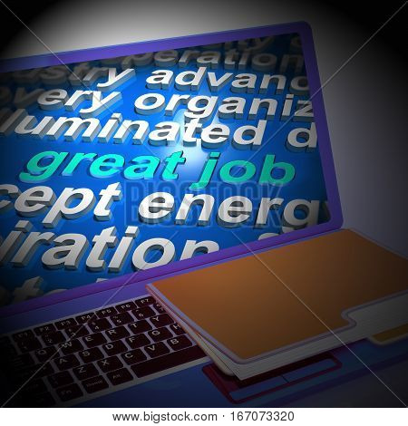 Great Job Word Cloud Laptop Shows Praise Appreciation 3D Rendering