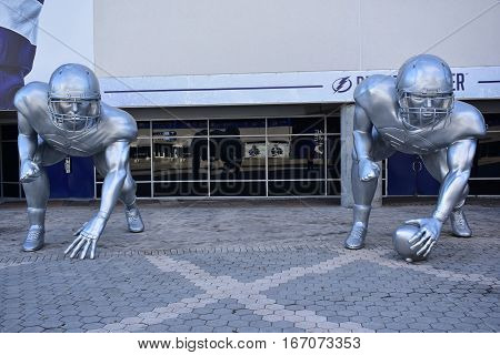 Tampa, Florida - Usa - January 07, 2017: College Football Playoff Sculptures
