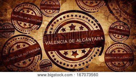 Valencia de alcantara, vintage stamp on paper background