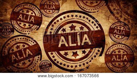 Alia, vintage stamp on paper background