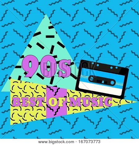 Best of music. Audiocassette geometric elements. Vector illustration in 80s-90s memphis style.