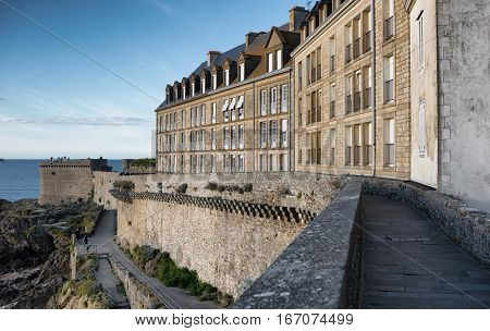 Fortification stone walls of Saint-Malo city in september, Bretagne France