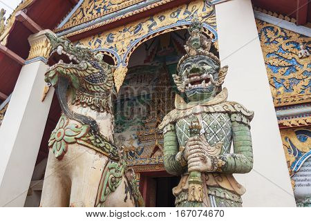 Giant statue in the temple of Thailand