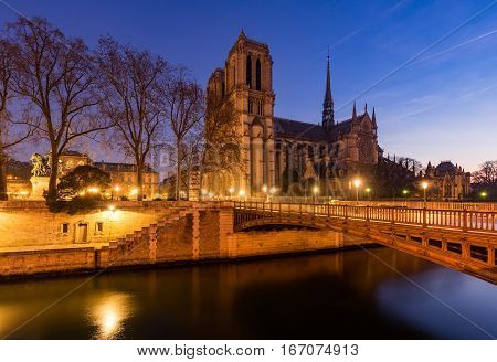 Notre Dame de Paris cathedral at dawn with the Seine River and the Pont au Double. Ile de La Cite. 4th Arrondissement Paris France