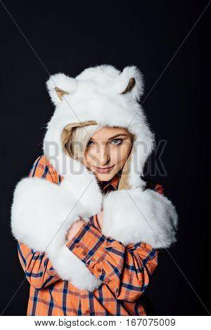 Beautiful Sexy Girl Wearing White Fur Hat