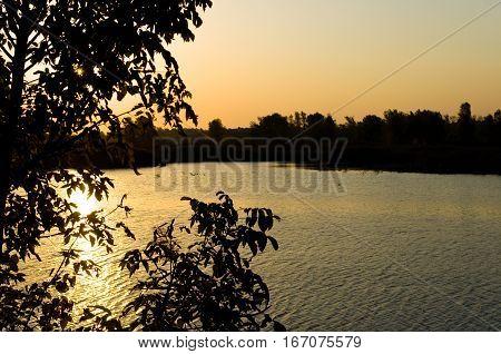 Autumn River at dawn, Autumn Landscape Dawn