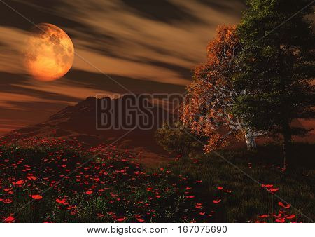 3d illustration fantasy landscape with poppies in foreground and planet in background