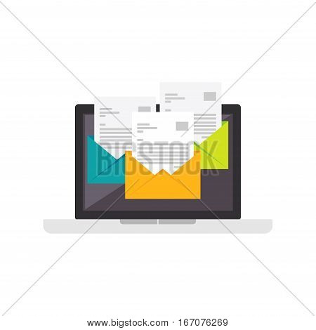 Email icon. E-mail flat design. Open new inbox email