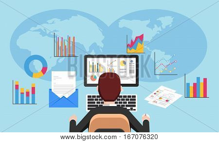 Business analyst marketing research concept flat design for web banner, web element ,or book cover