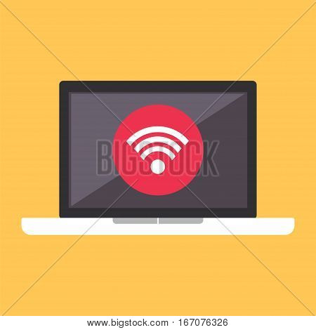 Wireless connectivity concept. Setting wireless connection on laptop