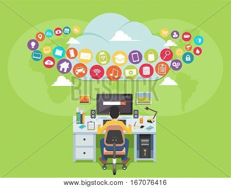 Surfing on the internet. Man accessing internet contents. Internet user. illustration for web banner, template or inforgraphic