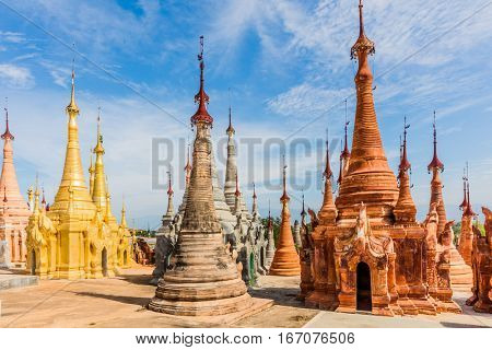 stupas of the Shwe Inn Dein Pagoda at Inle Lake Shan state in Myanmar