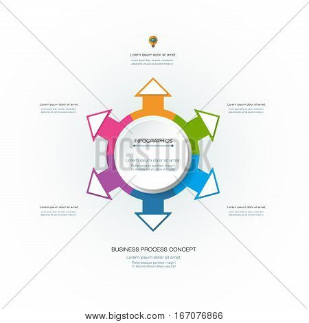 Vector Infographic 3D circle label design template with arrows sign and 6 options or steps. Infographics for business presentations or information banner process diagram flow chart graph scheme