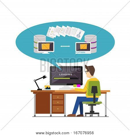 Exchanging files. Copying files between devices. Backup files. Data migration concept. File management concept  illustration for web banner , web element or infographics element.