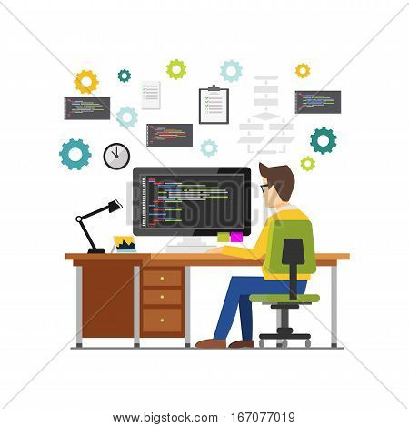 Professional programmer working writing code on computer at desk. Programmer developer workplace concept illustration for web banner , web element or infographics