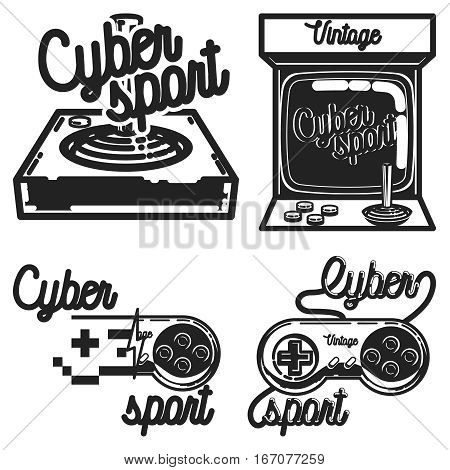 Color vintage cyber sport emblems, labels, badges and design elements. Logo for cybersport discipline or cybersport team.