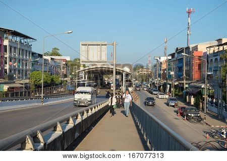 MAE SOT, THAILAND - DECEMBER 28, 2016: A view of boundary transition in the city of Mae Sot on the Thai-Burmese border