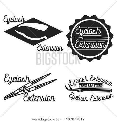 Vintage eyelash extension emblems, labels, badges and design elements