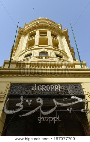CAIRO, EGYPT - 20 FEBRUARY 2016: Entrance of the famous Groppi Cafe which is open since 1892, was once the hottest spot in the city and it is still a tourist magnet in the Capital of Egypt