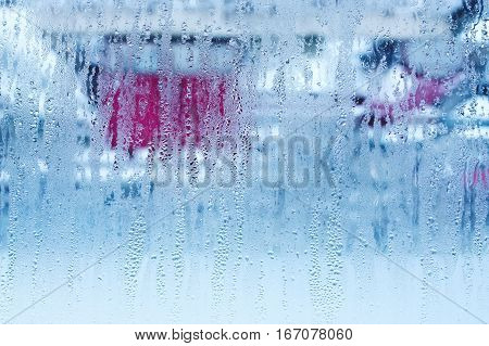 Natural Water Drops On Glass, Window Glass With Condensation, Strong, High Humidity, Large Drops Of