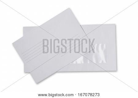 Two  White Envelope For Correspondence