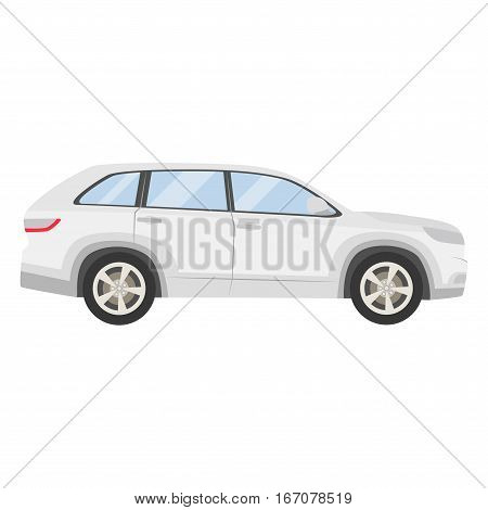 Car Vector Template On White Background. Hatchback Isolated. Flat Style, Business Design, White Hatc