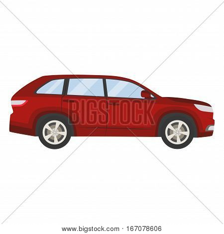 Car Vector Template On White Background. Hatchback Isolated. Flat Style, Business Design, Red Hatchb