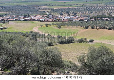 Typical small town in La Mancha, Spain. Photo taken in the province of Ciudad Real.