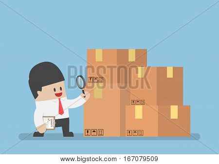 Businessman Checking Parcel Box By Magnifying Glass